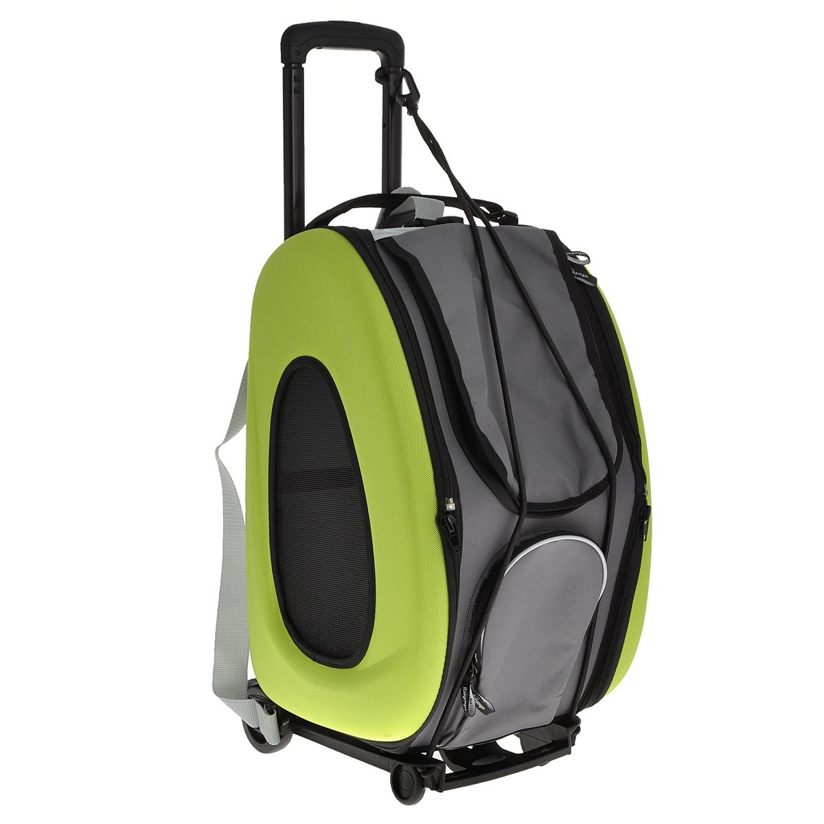 Cумка-тележка для собак 3в1 Ibiyaya, до 8 кг, цвет: лайм, 34 см х 30 см х 58 см0120710Невероятно удобный дизайн и стиль сумки тележки Ibiyaya 3 в 1 для собак до 8 кг поможет в путешествиях и прогулках вам и вашему питомцу. Многофункциональная, из прочного плотного материала, легко складывается и раскладывается, имеет объемный карман на молнии и вход на молнии с сетчатым окошком, закрывающийся накладкой на липучке, боковые стороны также имеют сетчатые окошки и овальные отверстия все это сумка-тележка. В сложенном виде это компактный кейс который занимает минимум места.Сумку можно использовать как рюкзак, как сумку через плечо и пристегивать как авто-кресло в автомобиле. Внутри имеется ремешок пристегивающийся к ошейнику, мягкая подстилка на липучках которую можно поменять на разовую пеленку. Дизайн сумки разработан с учетом последних модных тенденций и выгодно выделяет модель среди аналогичных товаров. Можно выбрать цвет: синий, оранжевый, лайм. В комплекте - инструкция с картинками по сборке сумки на русском языке.Полный размер сумки: 58 см х 30 см х 34 см.