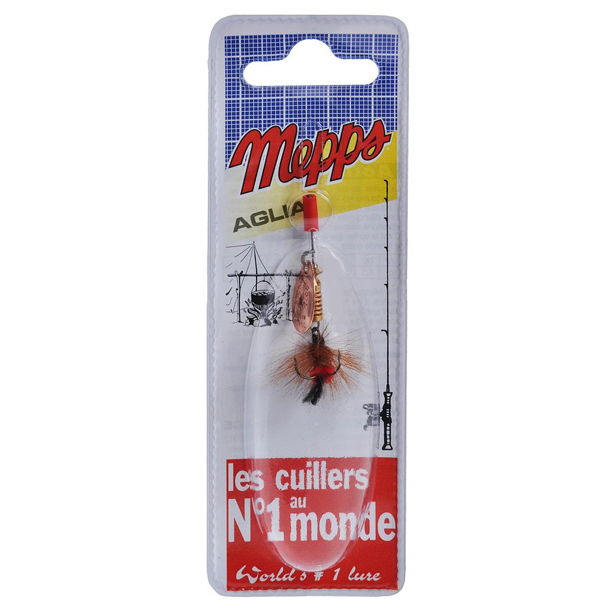 Блесна Mepps Aglia CU Mouch. Rouge, вращающаяся, №00010-01199-23Вращающаяся блесна Mepps Aglia CU Mouch. Rouge оснащена мушкой из натурального беличьего хвоста, это очень эффективные приманки для ловли жереха, голавля, язя, окуня и других видов рыб, особенно в периоды массового вылета насекомых.Aglia Mouche - некрупная блесна, которая особенно подходит для летней ловли рыбы (особенно осторожной) на мелководье.