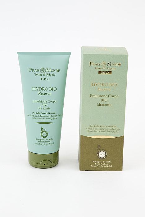 Frais Monde Эмульсия для тела Hydro Bio, увлажняющая, для сухой и нормальной кожи, 200 млБ63003 мятаНежная эмульсия для тела Frais Monde Hydro Bio глубоко увлажняет кожу, восстанавливая гидро-липидный баланс. Комплекс активных компонентов придает коже мягкость, шелковистость и упругость. Активные ингредиенты: -Гиалуроновая кислота удерживает воду в клетках. -Экстракт органического солероса снижает потери воды, стимулируя воспроизводство естественных увлажняющих агентов.Способ применения: утром и вечером нанести на чистое тело круговыми массажными движениями до полного впитывания. Товар сертифицирован.