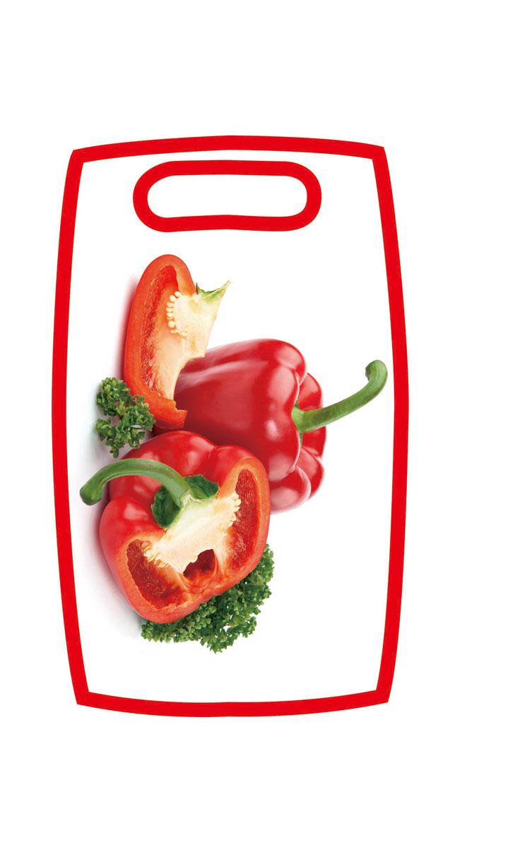 Доска разделочная Hausmann Перец, 31 х 19,5 х 1 см17037Разделочная доска Hausmann Перец, изготовленная из высококачественного пищевого пластика, займет достойное место среди аксессуаров на вашей кухне. Лицевая сторона изделия украшена изображением красного перца. Доска оснащена удобной ручкой.Доска Hausmann Перец прекрасно подойдет для нарезки любых продуктов. Она устойчива к деформации, не разрушается, легко моется.