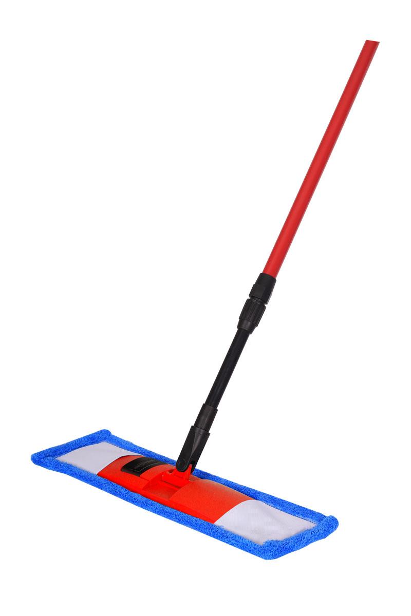 Швабра Hausmann, с телескопической ручкой, 75-130 см. P-21110503Швабра Hausmann предназначена для сухой и влажной уборки полов с любым типом напольной поверхности: кафель, паркет, ламинат, линолеум. Металлическая телескопическая ручка позволяет отрегулировать швабру по высоте для удобного использования. Материал насадки - шинил (микрофволокно), который обладает высокой износостойкостью, не царапает поверхности и отлично впитывает влагу. Складывающийся механизм швабры позволяет легко заменить насадку. Для снятия насадки надо нажать на кнопку держателя ногой и потянуть ручку вверх. При надевании насадки на швабру насадку положить на пол и поставить сверху держатель. Оба конца держателя вставить в карманы насадки, надавить на ручку, расправить насадку и зафиксировать насадку до лёгкого щелчка держателя.Длина ручки: 75-130 см. Размер насадки: 44 х 14 см.