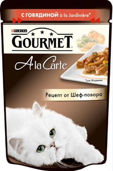 Консервы Gourmet A la Carte, для взрослых кошек, с говядиной a la Jardiniere, с морковью, томатом и цуккини, 85 г83Корм Gourmet A la Carte – это изысканные блюда, приготовленные по рецептам от шеф-повара. Прекрасное сочетание рыбного или мясного ассорти с тщательно подобранными ингредиентами, такими как овощи, рис или паста, создают утонченную гармонию текстуры и вкуса. Рекомендации по кормлению: Суточная норма: 3-4 пакетика в день для взрослой кошки (средний вес 4 кг), в два приема.Данная суточная норма рассчитана для умеренно активных взрослых кошек, живущих в условиях нормальной температуры окружающей среды. В зависимости от индивидуальных потребностей кошки норма кормления может быть скорректирована для поддержаниянормального веса вашей кошки.Подавайте корм комнатной температуры. Следите, чтобы у вашей кошки всегда была чистая, свежая питьевая вода. Состав: мясо и продукты переработки мяса (в том числе говядины), экстракт растительного белка, рыба и продукты переработки рыбы, овощи (в том числе морковь, томат, цуккини) минеральные вещества, сахара, витамины, красители.Добавленные вещества: витамин A 735 МЕ/кг; витамин D3 113 МЕ/кг; витамин Е 16,5 МЕ/кг; железо 8,5 мг/кг ; йод 0,2 мг/кг; медь 0,7 мг/кг; марганец 1,6 мг/кг; цинк 15 мг/кг.Гарантированные показатели: влажность 79,5%, белок 13%, жир 2,7%, сырая зола 2,2%, сырая клетчатка 0,3%.Условия хранения: закрытый пакетик хранить в сухом прохладном месте. После открытия хранить в холодильнике максимум 24 часа.Товар сертифицирован.