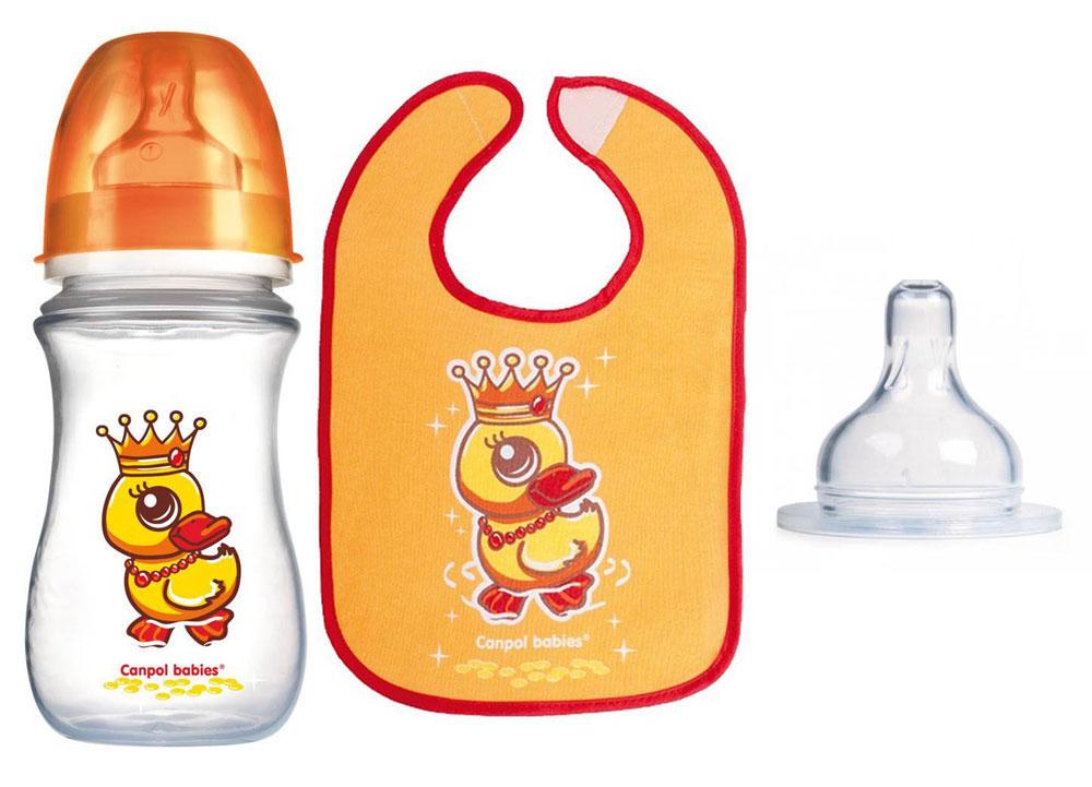 Набор для кормления Canpol Babies Волшебная сказка, цвет: оранжевый, 4 предмета1627359_из яйцаНабор для кормления Canpol Babies Волшебная сказка включает в себя бутылочку, соску и нагрудник. Антиколиковая бутылочка Easy Start предназначена для малышей от 0 до 6 месяцев. Она разработана специально, чтобы предоставить возможность сочетать грудное вскармливание и кормление из бутылочки и предотвратить появление колик.Широкое горлышко позволит легко очистить бутылочку. Мерная шкала поможет точно приготовить необходимое количество питания. К бутылочке предусмотрена антиколиковая силиконовая соска медленного потока, герметичный диск, который преобразует бутылочку в контейнер для хранения/замораживания питания ребенка, жесткая закручивающаяся крышка, которая не даст жидкости разлиться, а также ершик для чистки соски. Изображения красочных сказочных персонажей сделают процесс кормления более интересным.Круглая соска для бутылочек EasyStart среднего потока подходит для бутылочек с широким горлышком. Она сделана из мягкого силикона высокого качества. Эта соска напоминает форму груди, что позволяет сочетать грудное вскармливание и кормление из бутылочки. Благодаря воздушному клапану, расположенному у основания соски, ребенок не глотает воздух, что уменьшает риск возникновения колик. Практичный нагрудник защитит одежду вашего малыша во время прорезывания зубов или в тех случаях, когда он случайно что-то прольет, опрокинет или неаккуратно поест.Нагрудник выполнен из мягкого хлопка и дополнен ПЭВА пленкой, благодаря которой одежда под ним не промокает и не пачкается.Лицевая сторона нагрудника оформлена изображением сказочного персонажа. Застегивается нагрудник на липучку. Объем бутылочки 240 мл. Бутылочка и соска не содержат Бисфенол А.