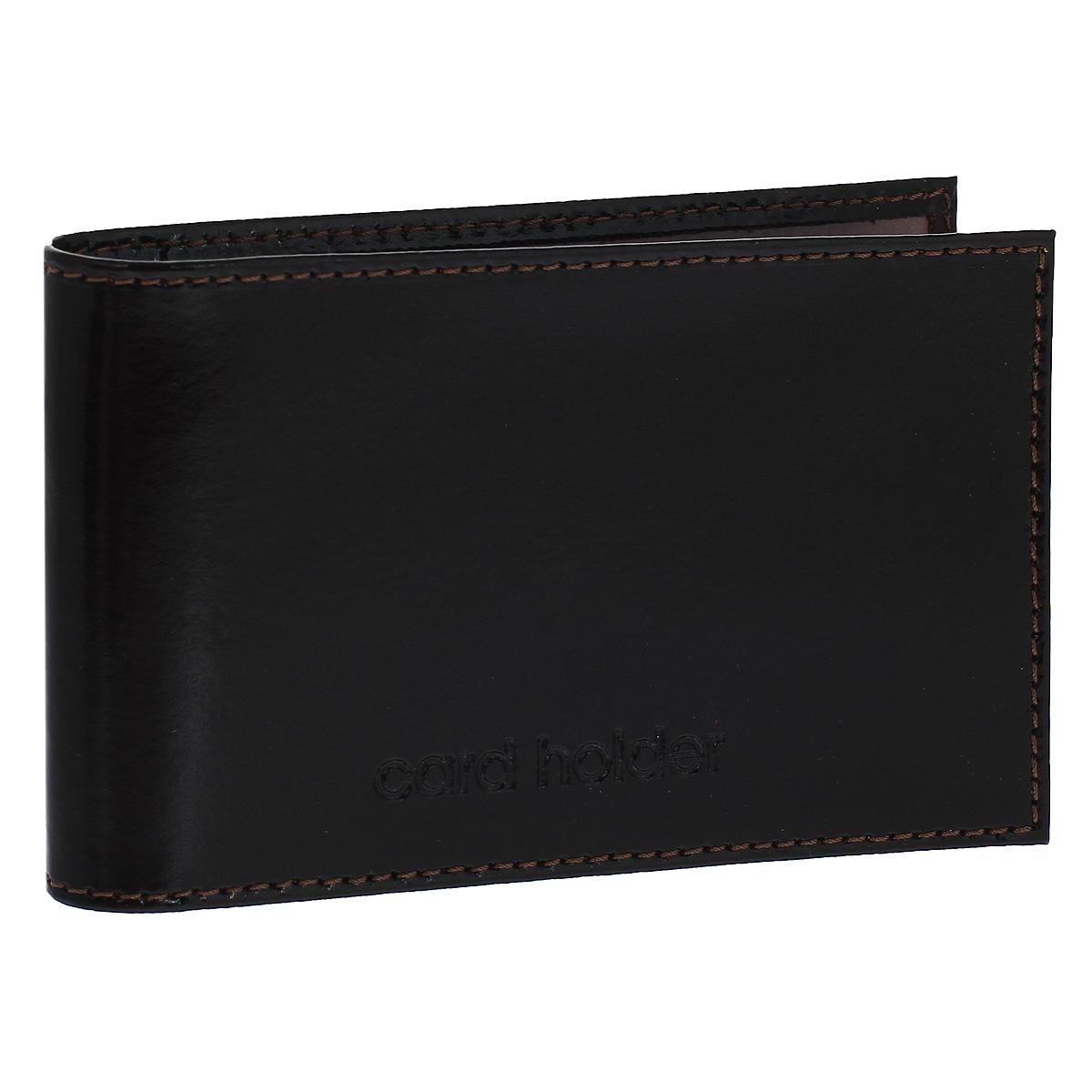 Кредитница горизонтальная Befler Classic, цвет: темно-коричневый. K.5.-1A52_108Компактная горизонтальная кредитница Befler Classic  - стильная вещь для хранения визиток. Обложка кредитницы выполнена из натуральной кожи и оформлена декоративным тиснением Card Holder. На внутреннем развороте 2 кармана из прозрачного пластика. Внутренний блок состоит из 20 прозрачных кармашков, рассчитанных на 40 визитных или 20 кредитных карт.