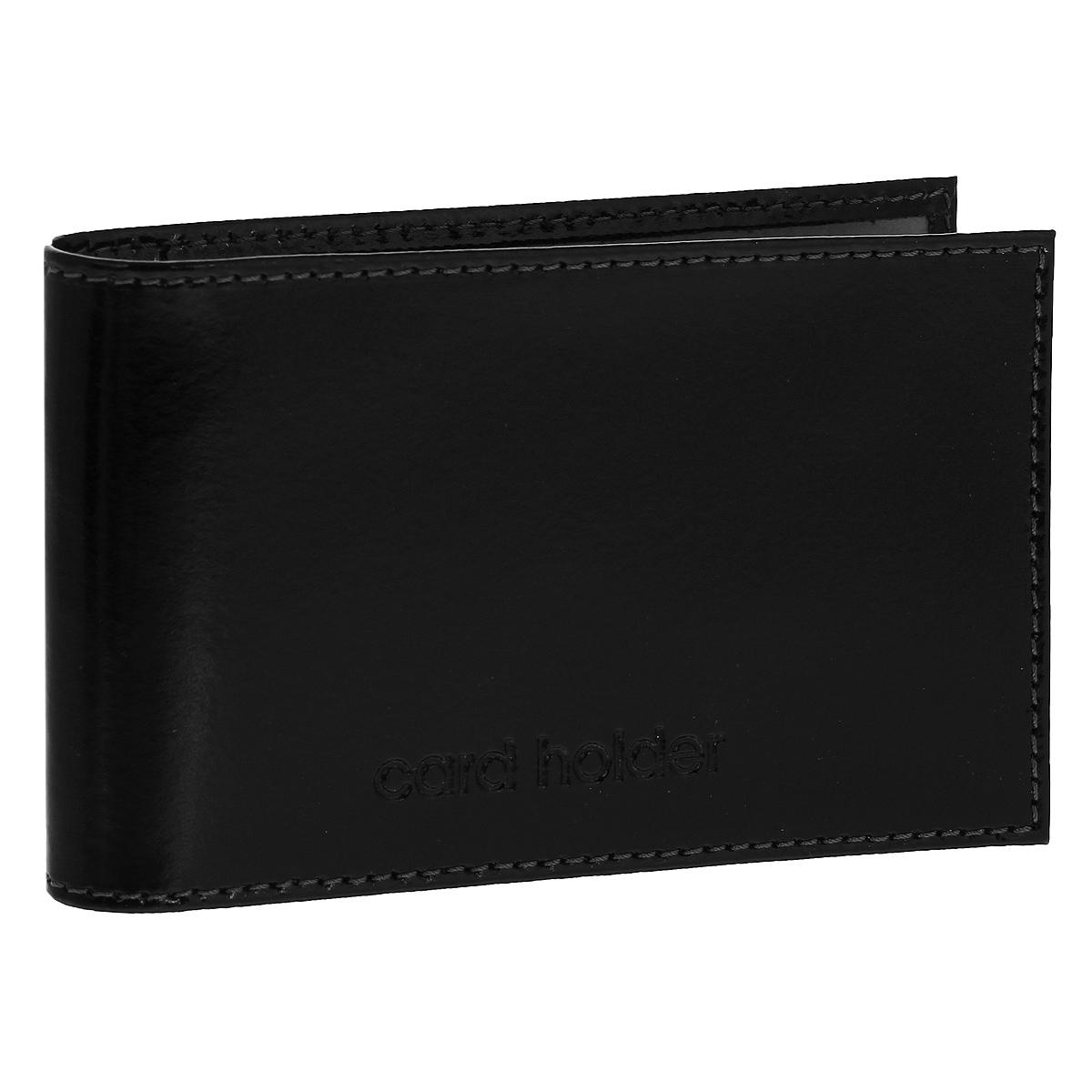Кредитница горизонтальная Befler Classic, цвет: черный. K.5.-1A52_108Компактная горизонтальная кредитница Befler Classic  - стильная вещь для хранения визиток. Обложка кредитницы выполнена из натуральной кожи и оформлена декоративным тиснением Card Holder. На внутреннем развороте 2 кармана из прозрачного пластика. Внутренний блок состоит из 20 прозрачных кармашков, рассчитанных на 40 визитных или 20 кредитных карт.