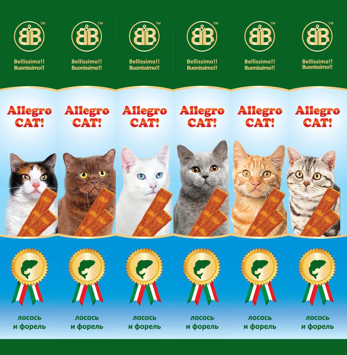 Лакомство для кошек B&B Allegro Cat, мясные колбаски из лосося и форели, 6х5 г0120710Колбаски мясные B&B Allegro Cat - это вкусное и здоровое угощение, которое придется по вкусу даже самому капризному любимцу. Специальная герметичная упаковка сохранит лакомство вкусным в течение долгого времени. Состав: мясо и продукты животного происхождения ( минимум 95%: из которых 5% форель, 5% лосось), минеральные соли. Пищевая ценность: протеин 33,5%, жиры 20%, зола 9%, клетчатка -2%, влажность -28%.Количество колбасок в упаковке: 6 шт. Вес одной колбаски: 5 г. Товар сертифицирован.