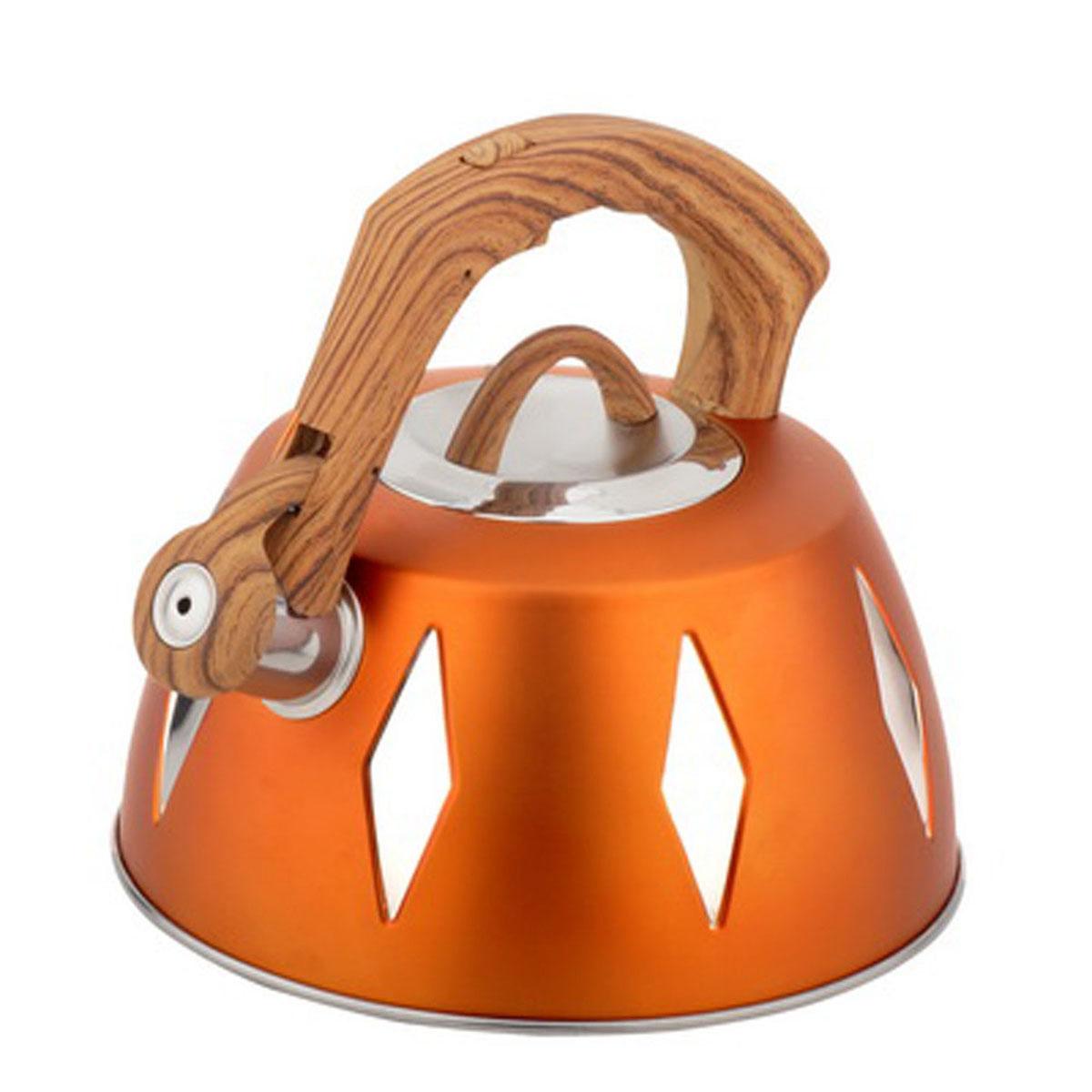 Чайник Bohmann со свистком, 3,5 л, цвет: оранжевый. BH-99689968BHNEWЧайник Bohmann изготовлен из высококачественной нержавеющей стали с цветным матовым покрытием. Нержавеющая сталь - материал, из которого в течение нескольких десятилетий во всем мире производятся столовые приборы, кухонные инструменты и различные аксессуары. Этот материал обладает высокой стойкостью к коррозии и кислотам. Прочность, долговечность и надежность этого материала, а также первоклассная обработка обеспечивают практически неограниченный запас прочности и неизменно привлекательный внешний вид. Капсульное дно позволяет изделию быстро нагреваться и дольше сохранять тепло. Чайник оснащен фиксированной прорезиненной цветной ручкой, что предотвращает появление ожогов и обеспечивает безопасность использования. Носик чайника имеет откидной свисток, который подскажет, когда вода закипела. Можно использовать на газовых, электрических, галогенных, стеклокерамических, индукционных плитах. Можно мыть в посудомоечной машине. Высота чайника (без учета ручки и крышки): 11,2 см. Высота чайника (с учетом ручки): 20 см. Диаметр основания чайника: 22,3 см. Диаметр чайника (по верхнему краю): 9,5 см.