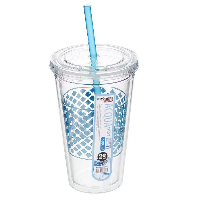 Стакан Frybest Easy, с трубочкой, цвет: голубой, 500 мл. AC1-04VT-1520(SR)Стакан Frybest Easy изготовлен из прочного пластика, оформленного цветным рисунком. Благодаря специальной конструкции с двойными стенками горячие и холодные напитки дольше сохраняют свою температуру. Прозрачность материала позволяет видеть содержимое. Материал износостоек и устойчив к царапинам, благодаря этому изделие сохранит свой изначальный вид даже после продолжительного использования. Стакан оснащен плотно закрывающейся крышкой с силиконовой прослойкой и удобной трубочкой. Такой стакан очень удобен в использовании, его можно взять с собой куда угодно: на работу, пикник, в парк, поездку или прогулку. Легкость очистки: благодаря своей форме стакан легко мыть; пригоден для посудомоечной машины.