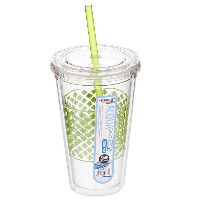 Стакан Frybest Easy, с трубочкой, цвет: зеленый, 500 мл. AC1-03VT-1520(SR)Стакан Frybest Easy изготовлен из прочного пластика, оформленного цветным рисунком. Благодаря специальной конструкции с двойными стенками горячие и холодные напитки дольше сохраняют свою температуру. Прозрачность материала позволяет видеть содержимое. Материал износостоек и устойчив к царапинам, благодаря этому изделие сохранит свой изначальный вид даже после продолжительного использования. Стакан оснащен плотно закрывающейся крышкой с силиконовой прослойкой и удобной трубочкой. Такой стакан очень удобен в использовании, его можно взять с собой куда угодно: на работу, пикник, в парк, поездку или прогулку. Легкость очистки: благодаря своей форме стакан легко мыть; пригоден для посудомоечной машины.