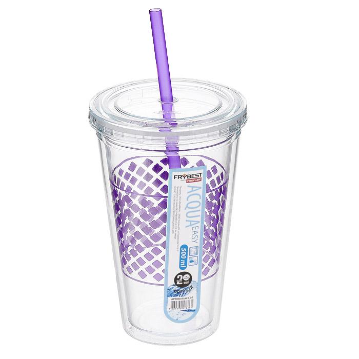 Стакан Frybest Easy, с трубочкой, цвет: фиолетовый, 500 мл. AC1-01VT-1520(SR)Стакан Frybest Easy изготовлен из прочного пластика, оформленного цветным рисунком. Благодаря специальной конструкции с двойными стенками горячие и холодные напитки дольше сохраняют свою температуру. Прозрачность материала позволяет видеть содержимое. Материал износостоек и устойчив к царапинам, благодаря этому изделие сохранит свой изначальный вид даже после продолжительного использования. Стакан оснащен плотно закрывающейся крышкой с силиконовой прослойкой и удобной трубочкой. Такой стакан очень удобен в использовании, его можно взять с собой куда угодно: на работу, пикник, в парк, поездку или прогулку. Легкость очистки: благодаря своей форме стакан легко мыть; пригоден для посудомоечной машины.