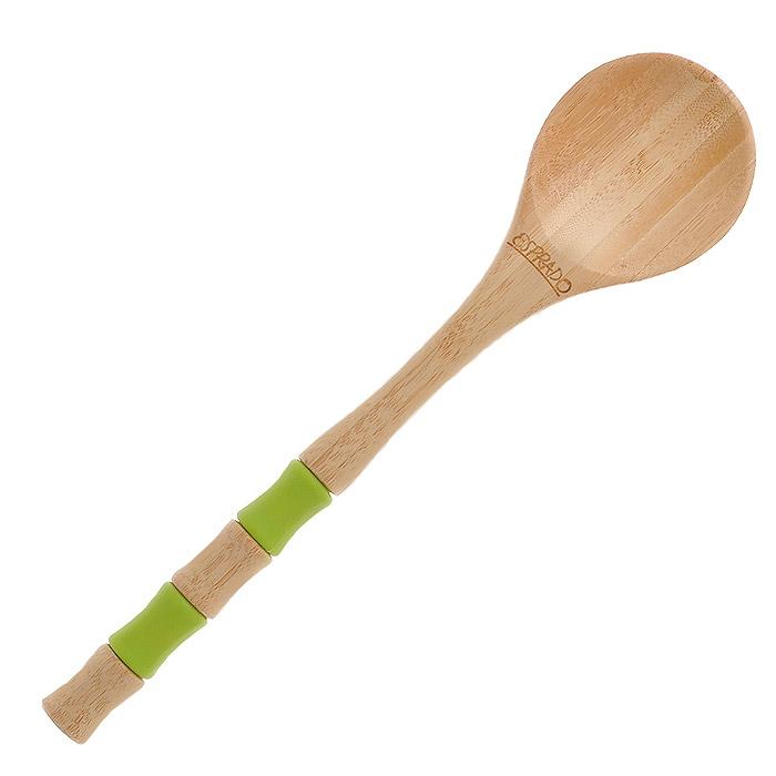 Ложка Esprado Decoco. DC1BS00E503SK KEY01Ложка Esprado Decoco изготовлена из экологически чистого материала - натуральной древесины бамбука. Поверхность изделия покрыта двойным слоем специальной пропитки Deleo, предназначенной для использования на посуде и предметах, соприкасающихся с пищей, и безопасной для здоровья. Она придает изделию гладкость и усиливает водоотталкивающие и антибактериальные свойства древесины. Рукоятка изделия имеет две силиконовые вставки зеленого цвета. Такая ложка не впитывает воду и запахи, не рассыхается, устойчива к нагрузкам. Отлично подходит для использования на антипригарных покрытиях.