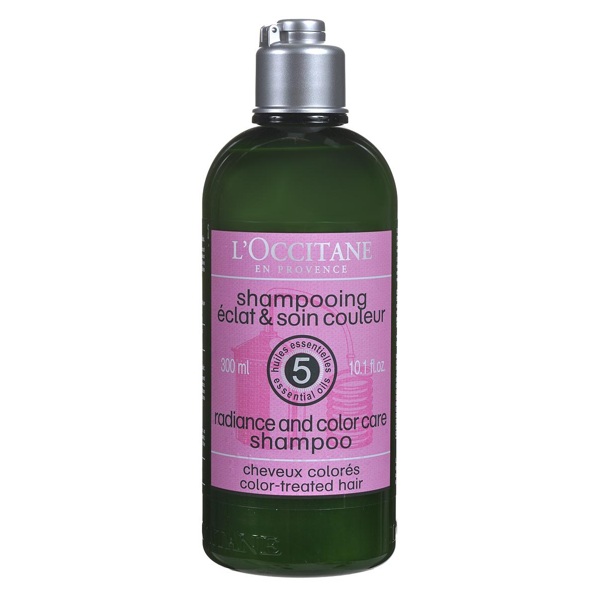 Шампунь LOccitane для окрашенных волос, 300 млMP59.4DВ составе шампуня формула на основе комплекса из 5 эфирных масел (герань, пальмароза, бергамот, розмарин и кедр) бережно очищает волосы, восстанавливает и укрепляет внутреннюю структуру и внешнюю поверхность волос, значительно сокращая их ломкость и предотвращая истончение. Экстракт виноградных косточек наполняет волосы зеркальным блеском и защищает стойкость и насыщенность цвета, удерживая красящие пигменты в структуре волос. УФ-фильтры препятствуют выцветанию и потускнению цвета. Не содержит парабенов и сульфатов. Шампунь окутает ваши волосы легким и нежным ароматом трав.Товар сертифицирован.