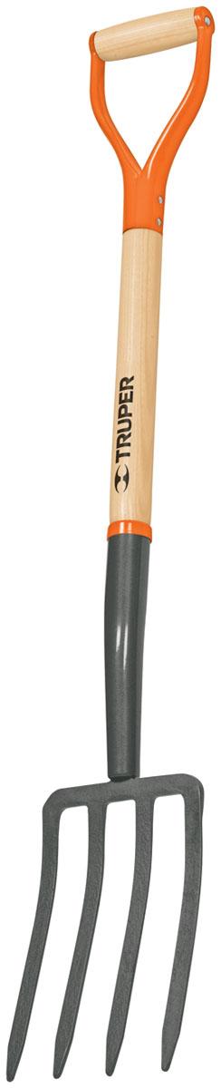 Вилы садовые Truper, деревянная ручка, 4 зуба, 103 см531-402Вилы Truper подойдут для разрыхления почвы после копания, а также для уборки зерна и листьев. D-ручка из металла и дерева изготовлена с применением электро-лучевой сварки. Черенок выполнен из американского ясеня.