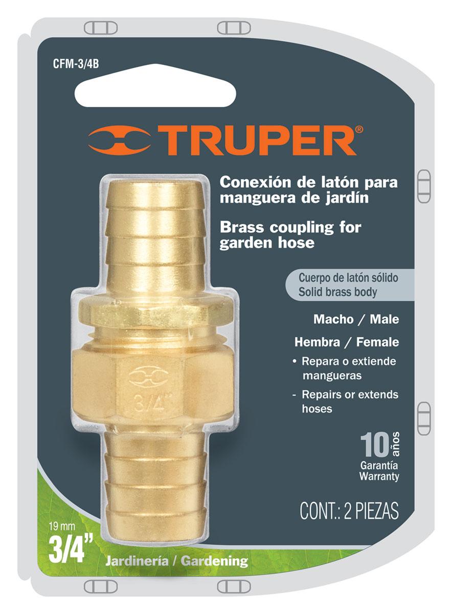 Коннектор для шланга Truper, латунный, мама-папа, 3/4А00319Шланговый коннектор Truper, выполненный из латуни, предназначен для быстрого и многократного присоединения и отсоединения шланга к насадкам или крану. Тип соединения мама-папа.