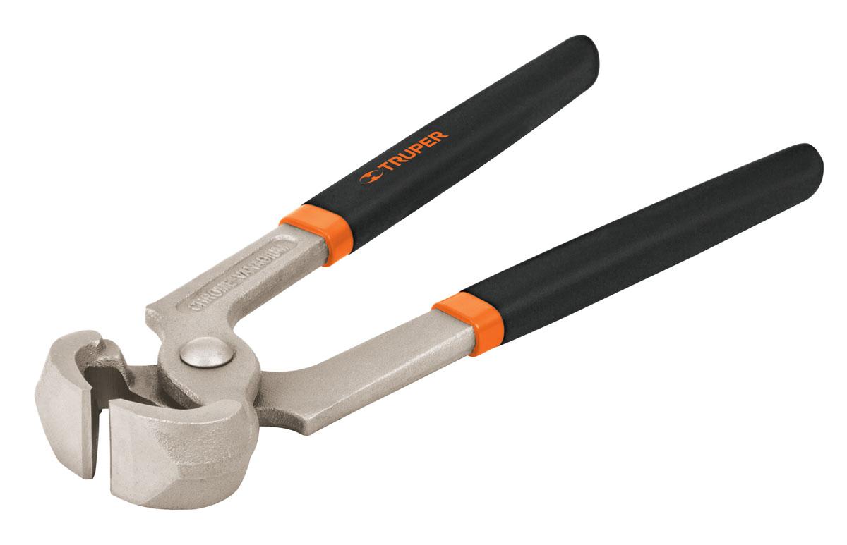 Кусачки Truper, 203,2 мм2706 (ПО)Форма конструкции позволяет прикладывать усилия для перекусывания прочных материалов и возможность работы вплотную к поверхности. Кусачки изготовлены из кованной хром-ванадиевой стали, которая в 2 раза прочнее углеродистой стали. Сатинированное покрытие металлической части в 3 раза лучше защищает от коррозии. Обрезиненные рукоятки обеспечивают надежныйудобный хват.