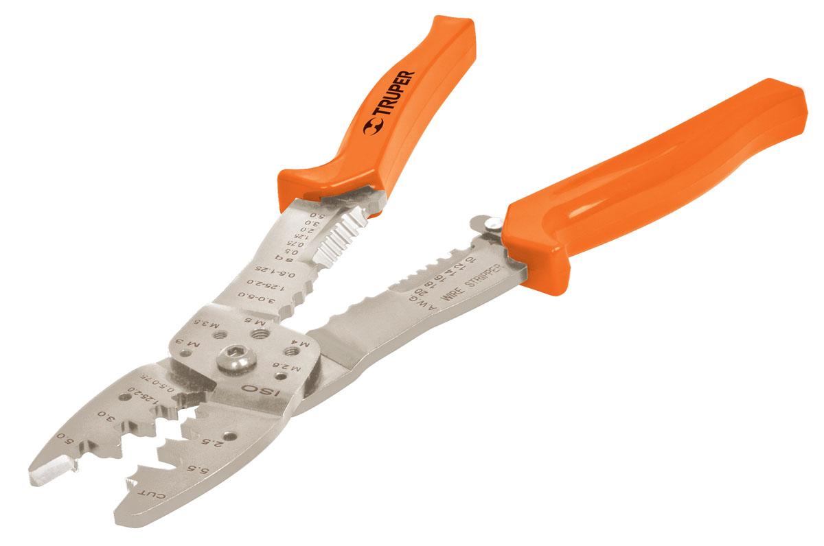 Инструмент для зачистки и обрезки проводов Truper, 25 см51015Инструмент Truper предназначен для зачистки и обрезки проводов. 6 размеров для зачистки от 0,5 мм до 5,2 мм. 10 размеров для обжима. Сатинированное покрытие металлической части, которое в 3 раза лучше защищает от коррозии.