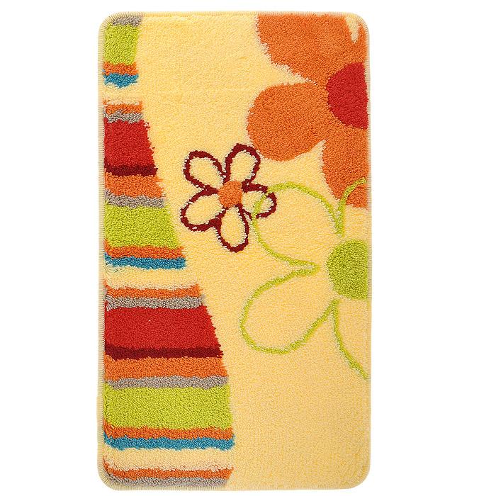 Коврик для ванной комнаты Milardo Daisy Blossom, цвет: желтый, 40 см х 70 см. MMI060A68/5/4Коврик для ванной комнаты Milardo Daisy Blossom выполнен из 100% акрила - прочного, долговечного материала, который быстро сохнет. Мягкий и приятный на ощупь коврик имеет латексную основу, благодаря которой он не скользит по полу. Края коврика обработаны оверлоком. Можно использовать на полу с подогревом.Коврик можно стирать в стиральной машине в щадящем режиме при температуре не выше 40°C отдельно от остального белья.