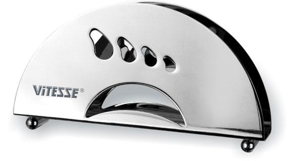 Салфетница Vitesse Jasmine. VS-1275115510Салфетница Vitesse Jasmine изготовлена из высококачественной нержавеющей стали 18/10 с зеркальной полировкой. По бокам изделие оформлено изящной перфорацией. Эксклюзивный дизайн, эстетичность и функциональность салфетницы сделают ее незаменимым аксессуаром на любой кухне. Характеристики: Материал: нержавеющая сталь 18/10. Размер салфетницы (ДхШхВ): 15 см х 3 см х 8 см.
