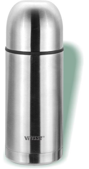 Термос Vitesse Alison, 0,75 л115510Термос Vitesse Alison выполнен из высококачественной нержавеющей стали. Термос имеет вакуумную изоляцию, которая на сегодняшний день является самым эффективным способом сохранения напитков как горячими, так и холодными. Вы сможете приготовить чай и кофе непосредственно в термосе. Легкий и удобный он станет незаменимым спутником в ваших поездках. Термос оснащен крышкой-чашкой. Пробка легко фиксируется. Термос можно мыть в посудомоечной машине. Характеристики:Материал:нержавеющая сталь, пластик.Высота термоса:22,7 см.Диаметр основания термоса:9 см. Диаметр чашки по верхнему краю:8 см. Высота чашки:5 см.Объем термоса:0,75 л. Размер упаковки:23,5 см х 9,5 см х 9,5 см.Артикул:VS-1403.Кухонная посуда марки Vitesseиз нержавеющей стали 18/10 предоставит Вам все необходимое для получения удовольствия от приготовления пищи и принесет радость от его результатов. Посуда Vitesse обладает выдающимися функциональными свойствами. Легкие в уходе кастрюли и сковородки имеют плотно закрывающиеся крышки, которые дают возможность готовить с малым количеством воды и экономией энергии, и идеально подходят для всех видов плит: газовых, электрических, стеклокерамических и индукционных. Конструкция дна посуды гарантирует быстрое поглощение тепла, его равномерное распределение и сохранение. Великолепно отполированная поверхность, а также многочисленные конструктивные новшества, заложенные во все изделия Vitesse, позволит Вам открыть новые горизонты приготовления уже знакомых блюд. Для производства посуды Vitesseиспользуются только высококачественные материалы, которые соответствуют международным стандартам.