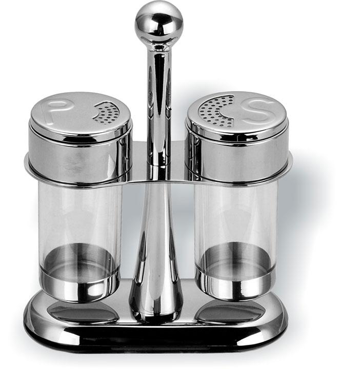 Набор для специй Vitesse Marina, 3 предмета. VS-1626115510Набор для специй Vitesse Marina состоит из солонки, перечницы и подставки. Емкости выполнены из прозрачного акрила и оснащены крышками из нержавеющей стали 18/10 с зеркальной полировкой. Крышка поворачивается. Удобная подставка оснащена ручкой. Эксклюзивный дизайн, эстетичность и функциональность сделают набор незаменимым на любой кухне. Можно мыть в посудомоечной машине. Характеристики: Материал: акрил, нержавеющая сталь 18/10. Высота солонки/перечницы: 10,5 см. Диаметр по верхнему краю: 5 см. Размер подставки (ДхШхВ): 14,5 см х 6,5 см х 18,5 см.