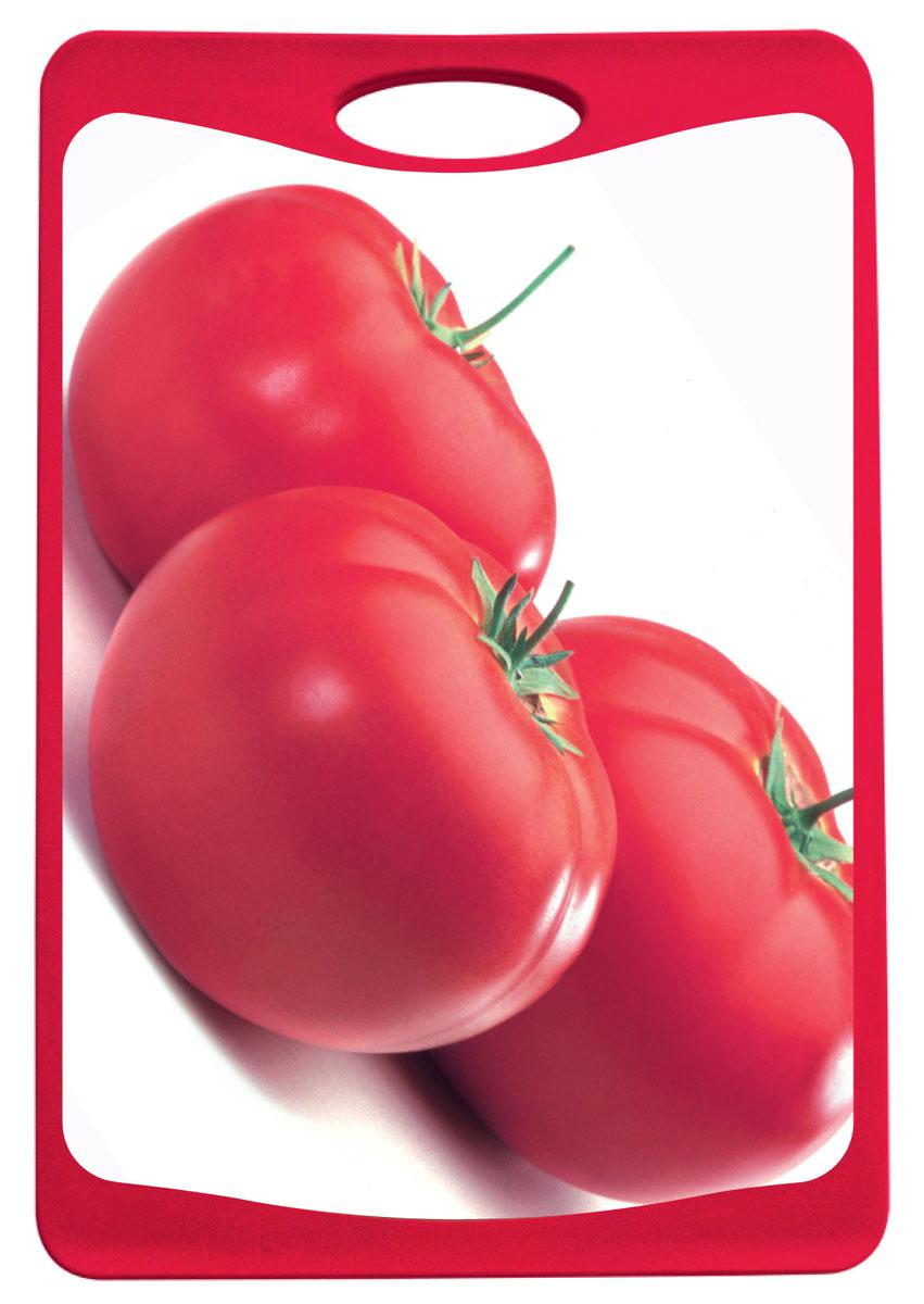 Доска разделочная Frybest Томат, цвет: красный, 25,4 см х 36,8 см115510Разделочная доска Frybest Томат представляет собой комбинацию нескольких материалов: дерево, пластик и силикон. Материалы непористые, что предотвращает впитывание запаха. Доска имеет специальное антибактериальное покрытие, защищающее поверхность от появления бактерий. Доску можно использовать с двух сторон. Лицевая сторона оформлена красочным изображением томатов. Углубления по краю доски соберут весь сок и поверхность стола останется чистой. Благодаря силиконовой вставке по краю, доска не скользит по поверхности. Можно мыть в посудомоечной машине.