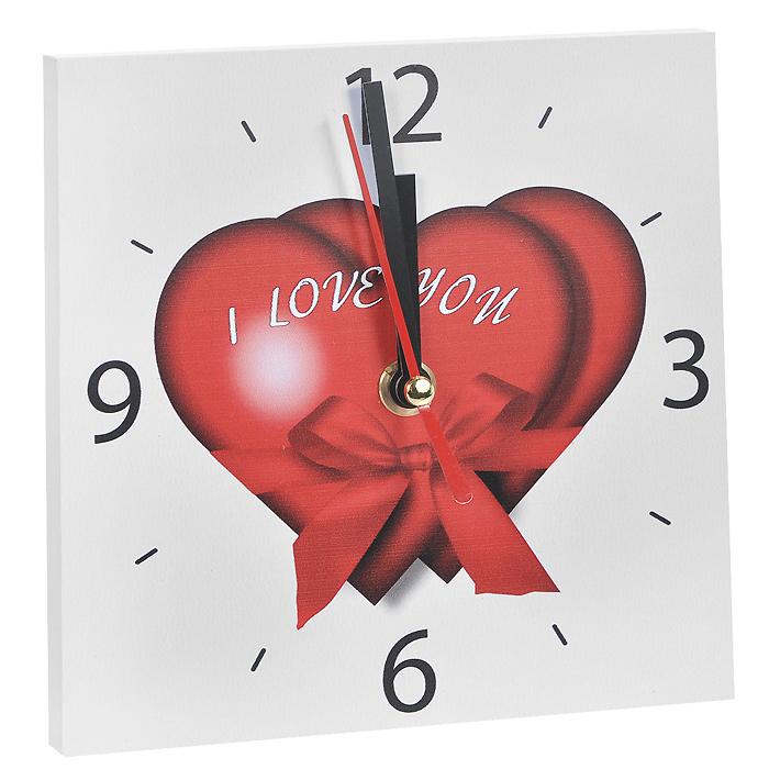 """Часы настенные Любовь. 95838300074_ежевикаНастенные кварцевые часы Любовь изготовлены из МДФ. Корпус часов квадратной формы декорирован изображением двух сердец и надписью """"I love you"""". Циферблат с отметками и арабскими цифрами имеет три стрелки - часовую, минутную и секундную. С задней стороны - ножка для размещения на столе и металлическая петля для подвешивания на стену. Часы необычного дизайна великолепно оформят интерьер."""