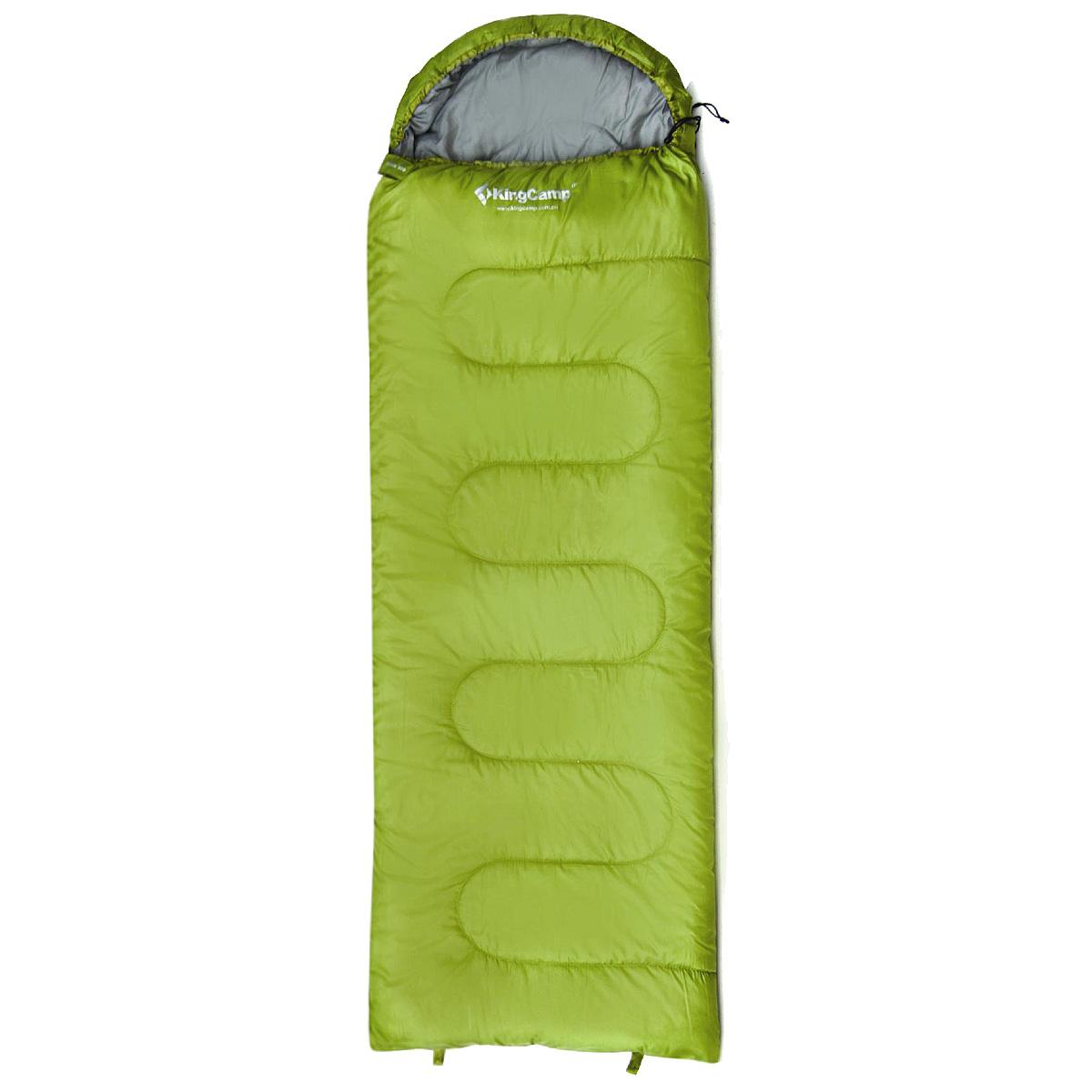 Спальный мешок-одеяло KingCamp Oasis 300 KS3151, правосторонняя молния, цвет: зеленый010-01199-23Комфортный спальник-одеяло имеет прямоугольную форму и одинаковую ширину как вверху, так и внизу, благодаря чему ноги чувствуют себя более свободно. Молния располагается на боковой стороне, благодаря чему при её расстёгивании спальник превращается в довольно большое одеяло.