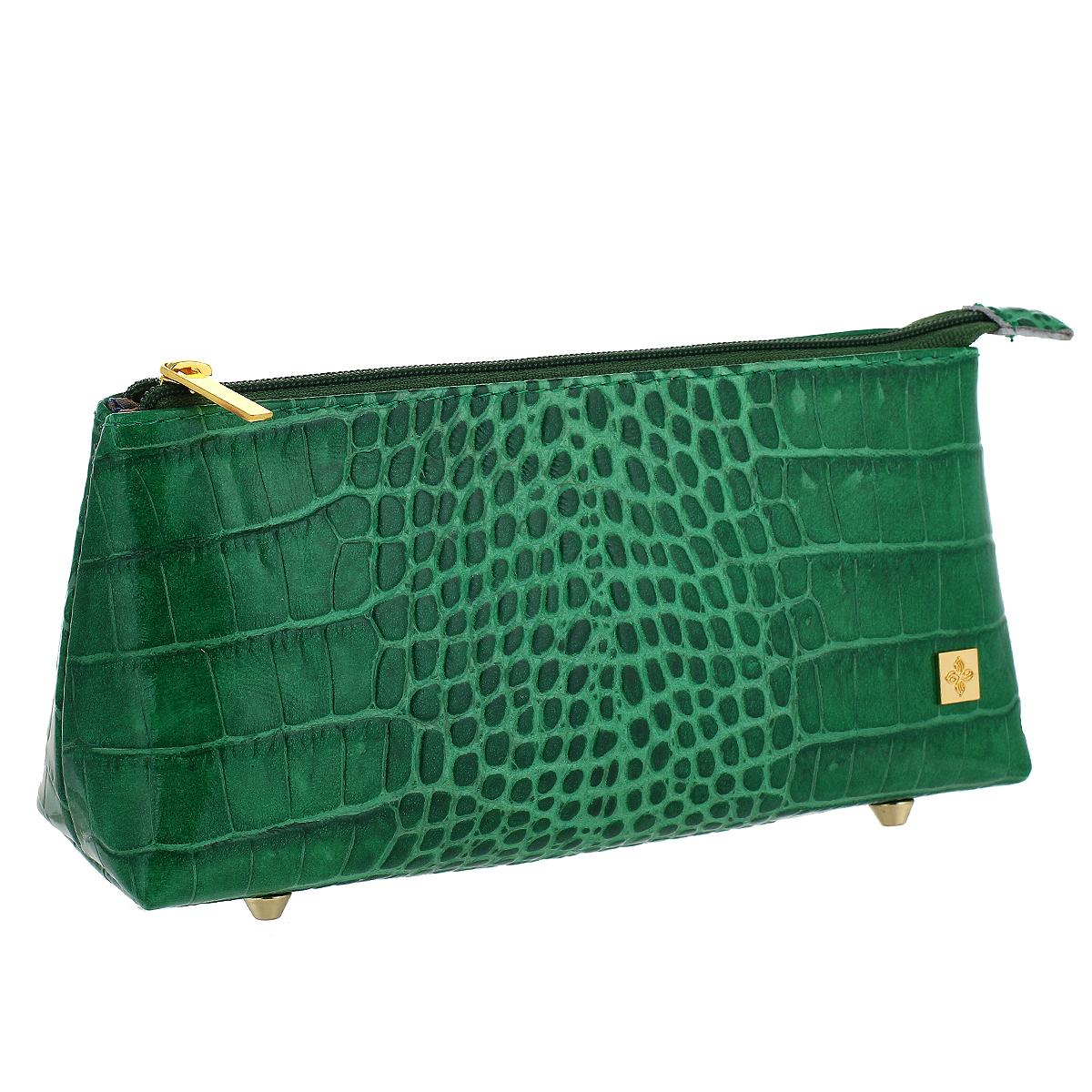 Косметичка Dimanche Казино, цвет: зеленый. 707INT-06501Косметичка Dimanche Казино изготовлена из высококачественной натуральной кожи с декоративным тиснением под рептилию. Внутренняя поверхность отделена шелковистым текстилем. Закрывается на застежку-молнию. На дне расположены четыре металлические ножки. Фурнитура - золотистого цвета. Косметичка Dimanche - яркий стильный аксессуар, который дополнит ваш образ и станет незаменимой вещью для хранения косметики. Благодаря компактным размерам косметичка поместится в любую сумочку.