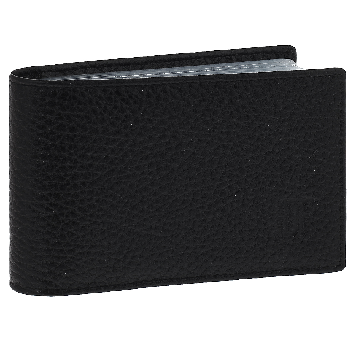 Футляр для визиток Dimanche Street, цвет: черный. 182B16-11416Футляр для визиток Dimanche Street изготовлен из натуральной фактурной матовой кожи черного цвета. Внутри содержится блок из прозрачных пластиковых файлов на 16 визиток, а также дополнительный карман для пластиковой карты. Стильный футляр эффектно дополнит ваш образ и поможет хранить визитки и пластиковые карты в одном месте.