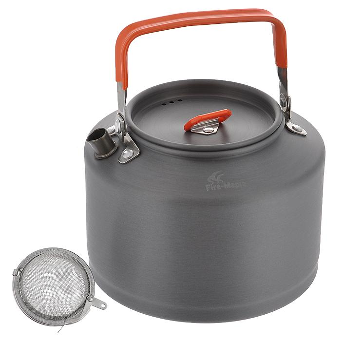 Чайник походный Fire-Maple Feast T4, 1,5 л. FMC-T467742Яркий походный чайник Fire-Maple Feast T4 интересного дизайна изготовлен из анодированного алюминия. Ручка чайника и ручка крышки имеет термоизолирующие элементы для сохранения вашей безопасности от ожогов. Крышка чайника имеет пароотводящие отверстия. Носик чайника оснащен направляющей выемкой, для точного наливания кипятка.Компактный, прочный, легко моется. В комплект входит сито.