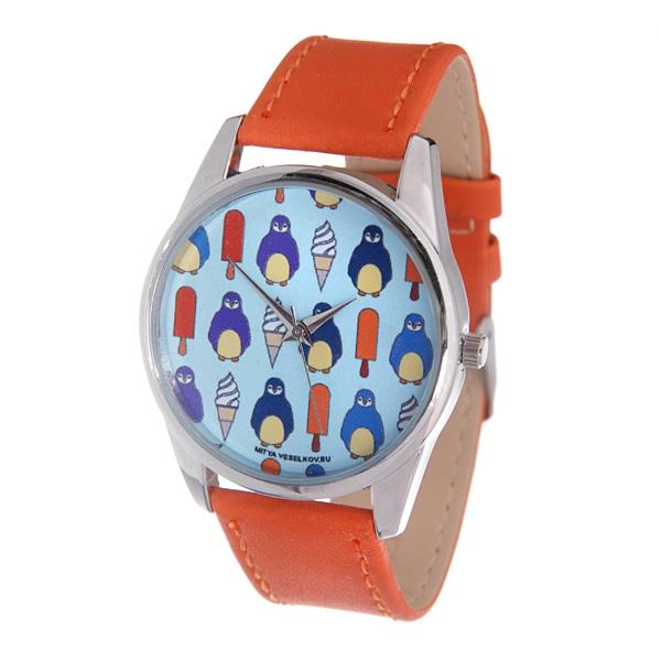 Часы Mitya Veselkov Пингвины и эскимо (оранжевый). Color-61BM8434-58AEНаручные часы Mitya Veselkov Пингвины и эскимо созданы для современных людей, которые стремятся выделиться из толпы и подчеркнуть свою индивидуальность. Часы оснащены японским кварцевым механизмом. Ремешок выполнен из натуральной кожи оранжевого цвета, корпус изготовлен из стали серебристого цвета. Циферблат оформлен оригинальным изображением.Часы размещаются на специальной подушечке и упакованы в фирменный стакан Mitya Veselkov.