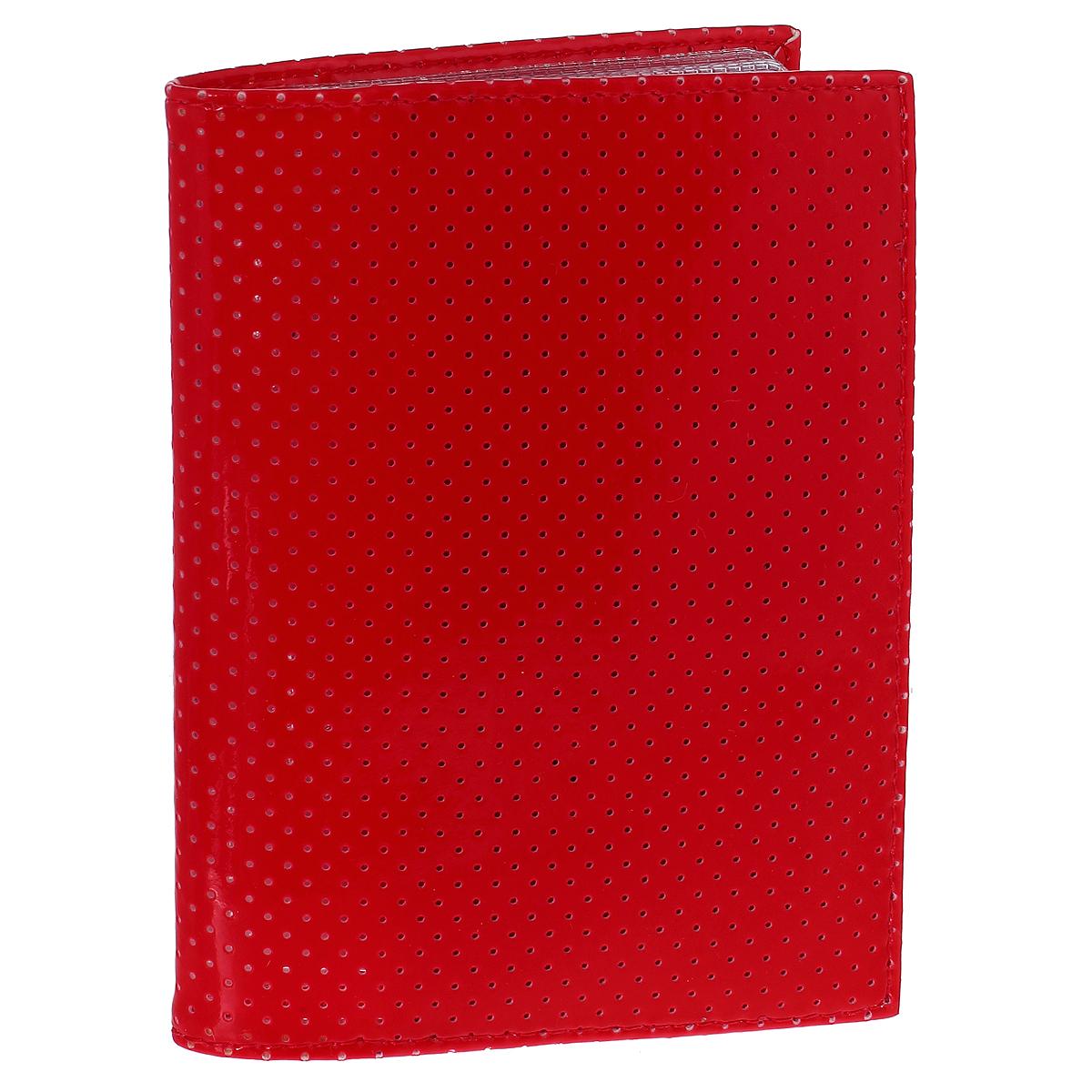 Бумажник водителя Dimanche, цвет: красный. 229/10EQW-M710DB-1A1Бумажник водителя Dimanche изготовлен из искусственной лакированной кожи красного цвета, оформленной мелкой перфорацией. Внутри содержится съемный блок из пяти прозрачных пластиковых файлов. Также имеется четыре кармашка для пластиковых карт и гнездо для сим-карты. Стильный бумажник не только поможет сохранить внешний вид ваших документов и защити их от грязи и пыли, но и станет стильным аксессуаром, идеально подходящим вашему образу.