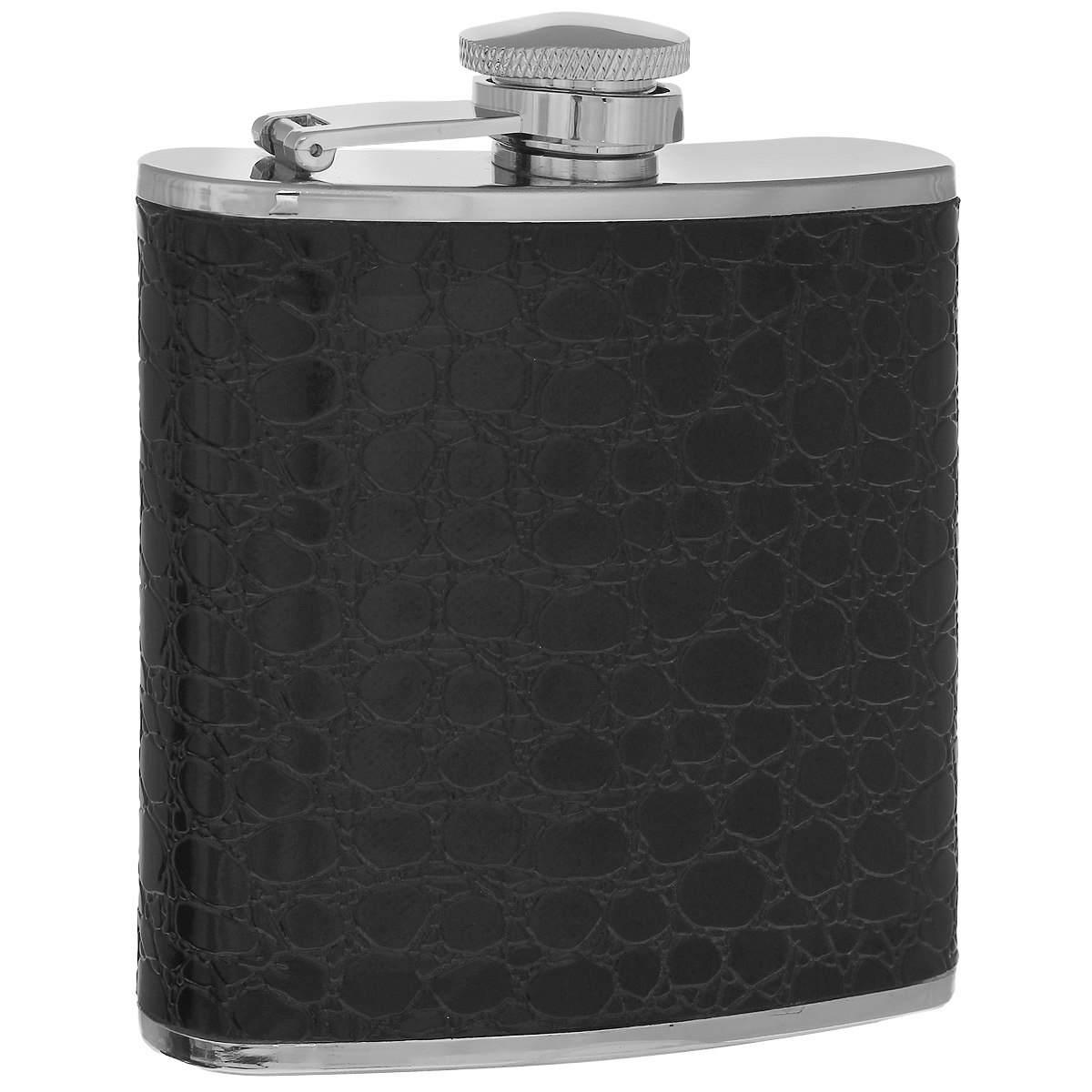 Фляга S.Quire Черный крокодил, 150 мл67742Фляга S.Quire изготовлена из нержавеющей стали 18/10 и оформлена вставкой из искусственной кожи черного цвета с декоративным тиснением под крокодила. Фляга специально предназначена для хранения алкогольных напитков. Ее нельзя использовать для напитков, содержащих кислоту, таких как сок и сердечные лекарства. Крышка плотно закрывается, предотвращая проливание. Фляга S.Quire - идеальный подарок для настоящих мужчин. Стильный дизайн, компактность и качество изделия, несомненно, порадуют любого мужчину.