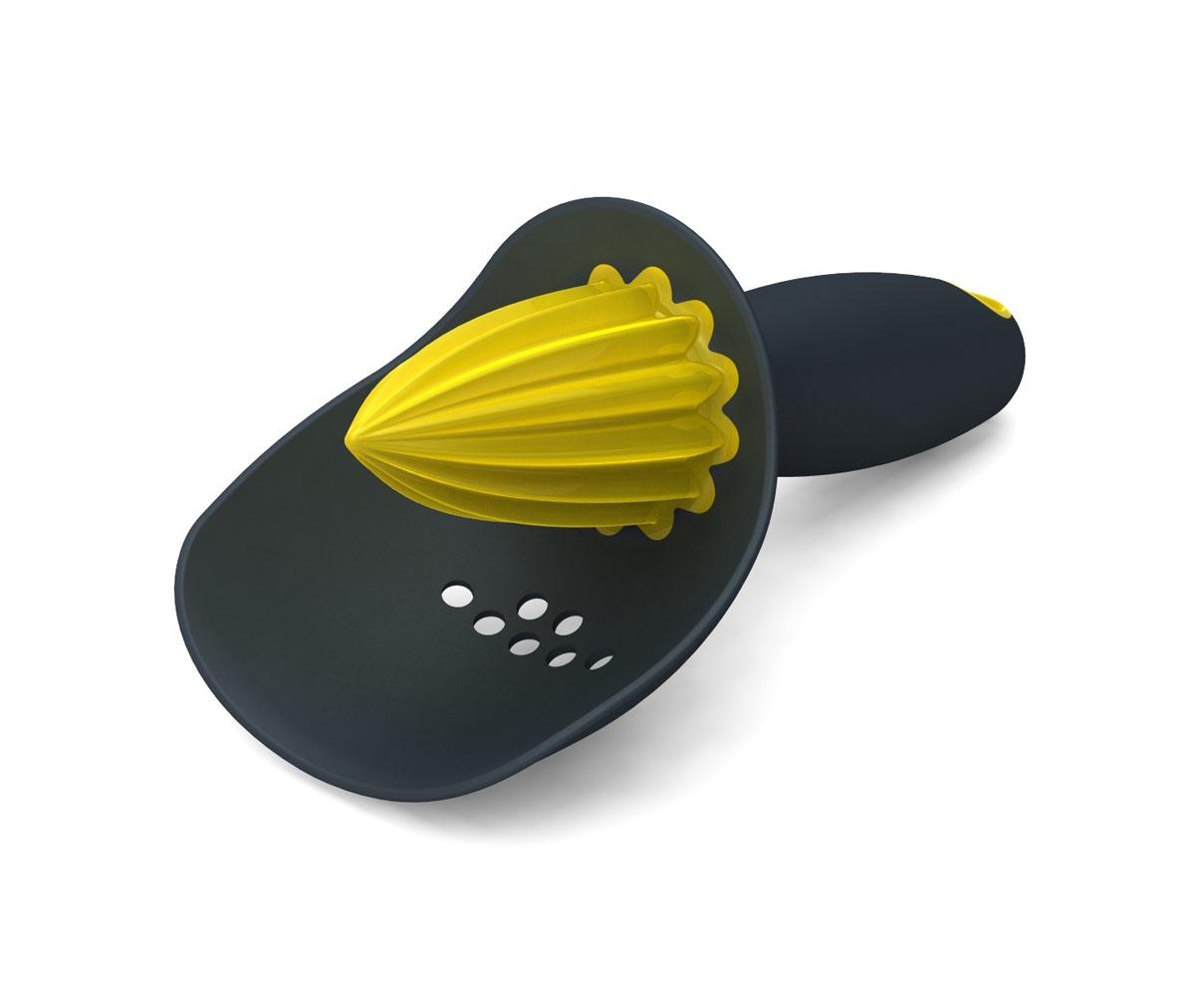 Соковыжималка для цитрусовых Joseph Joseph Catcher, цвет: серый, желтый, 8,5 х 6,8 х 16,6 см68/5/4Соковыжималка с ситом Joseph Joseph Catcher специально предназначена для лимонов, лаймов и апельсинов. Изделие выполнено из пластика. Специальная вставка из резины с отверстиями задерживает косточки и мякоть, пропуская в стакан только сок. Удобная прорезиненная рукоятка обеспечивает комфорт во время использования. Соковыжималка для цитрусовых поможет вам всегда иметь в стакане только свежий сок. Можно мыть в посудомоечной машине.