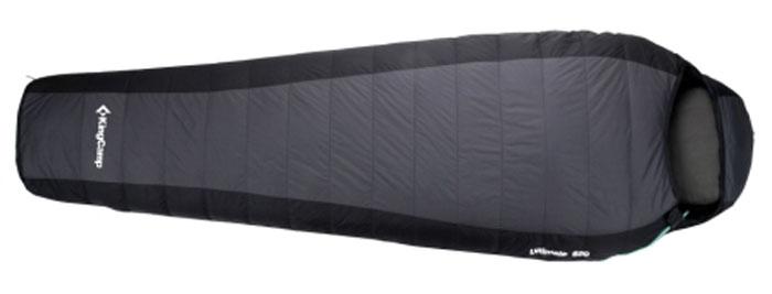 Спальный мешок KingCamp Compact 850L KS3180, правосторонняя молния, цвет: серый67742Просторный летный спальник-кокон KingCamp Compact 850L с подголовником, который вполне подойдет рослому и широкоплечему представителю сильной половины человечества. При этом спальный мешок очень легкий (всего 950 г). Синтетический пух Micro Loft, плотностью 90г/м2, обеспечивает хорошую теплоизоляцию, и позволяет даже в прохладные ночи чувствовать себя вполне комфортно.Идеальным вариантом спальник-кокон станет для тех, кто много времени проводит с рюкзаком за плечами. Прочный нейлон, которым покрыт спальник, весьма практичен.Внешний материал: нейлон Ripstop 210T.Внутренний материал: полиэстер 240T.Утеплитель: 1 слой 90 г/м2 Micro Loft.