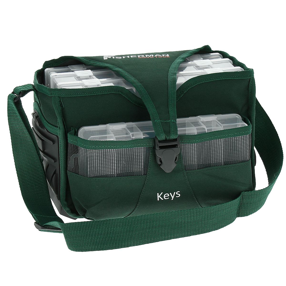 Сумка для рыбалки Fishernan Nova Tour Кейс, цвет: зеленыйPL-1RРыбацкая сумка Fishernan Nova Tour Кейс для любителей порядка. Все аккуратно сложено и упаковано, и в то же время, все под рукой. Вместительное основное отделение прямоугольной формы, сетчатый боковой карман, 4 пластиковых и усиленное дно, которое позволит оставлять сумку на земле - что еще нужно для хорошей сумки рыболова.
