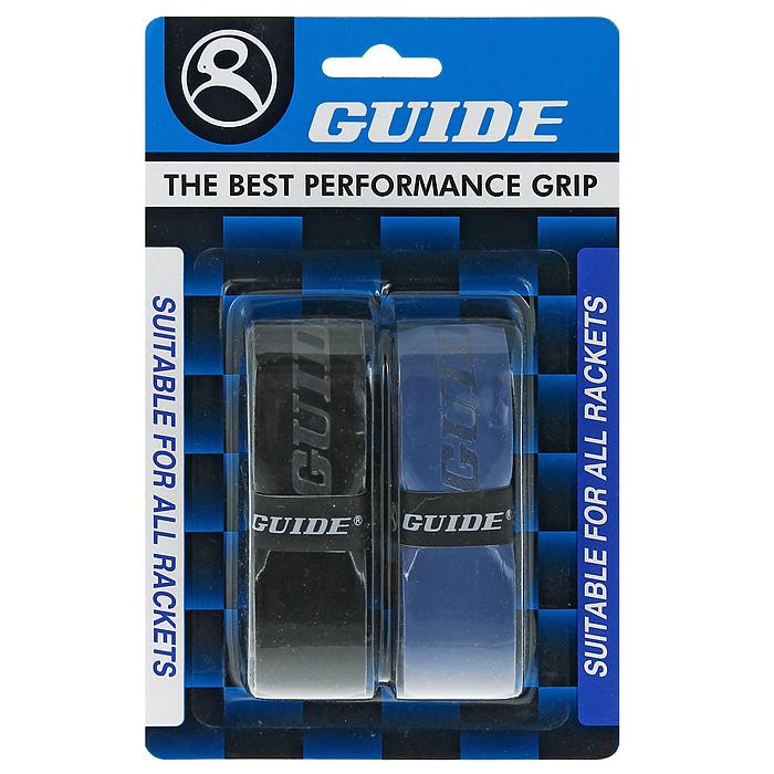 Обмотка для ракетки Guide Replacement Grip, цвет: черный, синий, 2 шт730005Обмотка Guide имеет среднюю толщину, отлично впитывает влагу, а также наделена противоскользящим свойством. Она не уступает по качеству продукции компании Yonex, опережая по показателям другие мировые бренды.