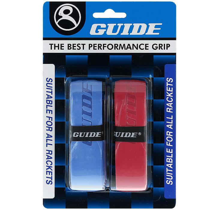 Обмотка для ракетки Guide Replacement Grip, цвет: синий, красный, 2 шт502036Обмотка Guide имеет среднюю толщину, отлично впитывает влагу, а также наделена противоскользящим свойством. Она не уступает по качеству продукции компании Yonex, опережая по показателям другие мировые бренды.
