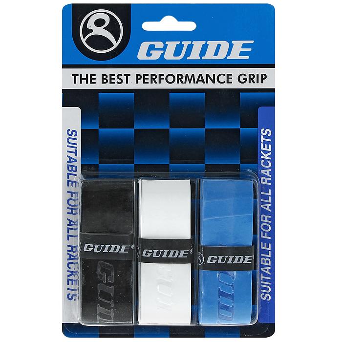Обмотка для ракетки Guide Replacement Grip, цвет: черный, белый, синий, 3 шт730006Обмотка Guide имеет среднюю толщину, отлично впитывает влагу, а также наделена противоскользящим свойством. Она не уступает по качеству продукции компании Yonex, опережая по показателям другие мировые бренды.