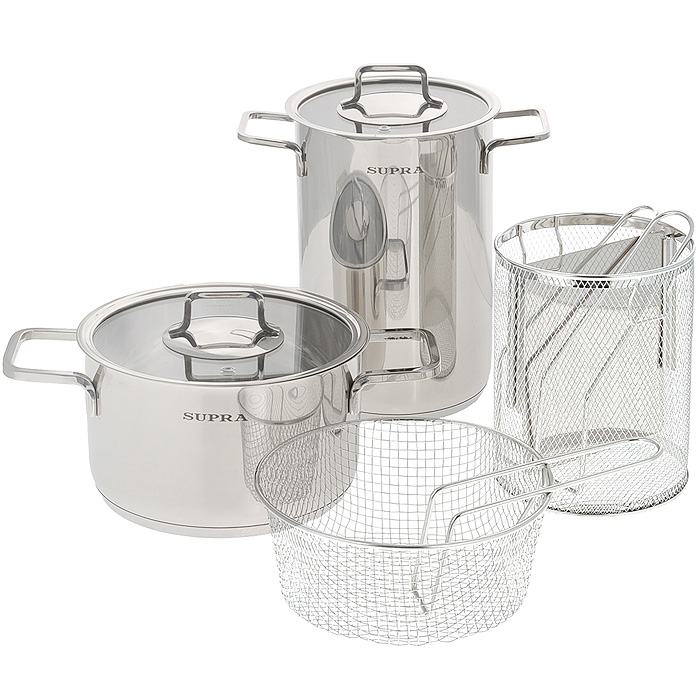 Набор посуды Supra Enkatsu, 6 предметов. SES-0669KitSES-0669KitНабор посуды Supra Enkatsu состоит из двух кастрюль с крышками и двух корзин для варки спагетти и овощей. Предметы набора изготовлены из высококачественной нержавеющей стали с зеркальной полировкой и оснащены надежными не нагревающимися ручками. Плоские крышки, изготовленные из термостойкого стекла, оснащены отверстием для выхода пара и стальным ободом. Такие крышки позволяют следить за процессом приготовления пищи без потери тепла. С отметками литража на внутренней стенке одной из кастрюль вы легко сможете соблюдать пропорции рецептуры без применения дополнительных предметов. Капсулированное индукционное дно позволяет использовать посуду на всех типах плит, включая индукционные плиты. Можно мыть в посудомоечной машине.Набор посуды Supra Enkatsu - это идеальный подарок для современных хозяек, которые следят за своим здоровьем и здоровьем своей семьи. Эргономичный дизайн и функциональность позволят вам наслаждаться процессом приготовления любимых, полезных для здоровья блюд.Продукция Supra - яркое воплощение традиционного японского качества. Посуда Supra изготавливается из экологически чистых материалов с использованием современных технологий, отличается высокой прочностью. Каждое изделие проходит строгий контроль качества на нескольких этапах производства. Посуда Supra безвредна для здоровья.