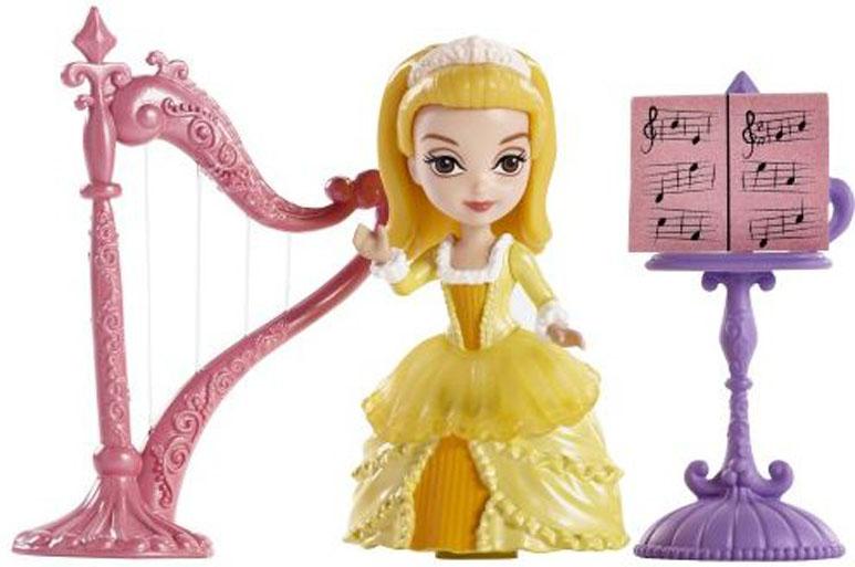 """Игровой набор Sofia the First """"Принцесса Эмбер и королевская арфа"""" непременно понравится вашей малышке. Набор состоит из фигурки очаровательной принцессы Эмбер, одетой в шикарное платье, подставки с нотами, арфы и небольшого медальона для вашей дочурки. Голова и ручки куколки подвижны. С таким набором ваша дочурка сможет воспроизводить любимые моменты или придумывать свои истории. Порадуйте свою малышку таким замечательным подарком!"""