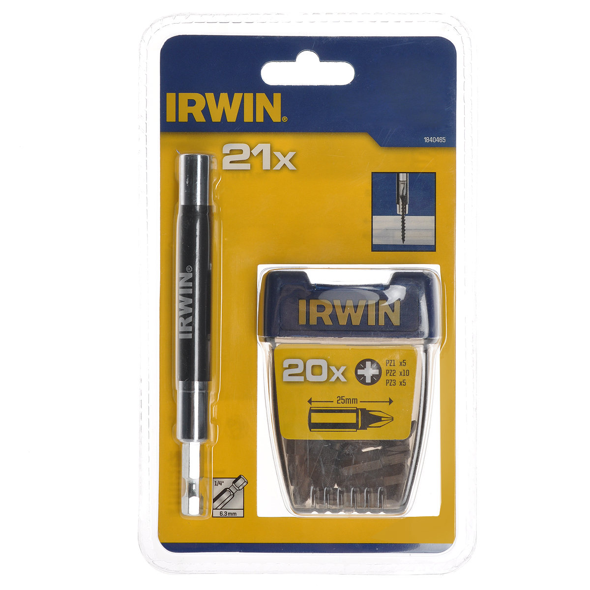 Набор бит с магнитным держателем Irwin, 1/4, 21 предмет1840465Набор бит с магнитным держателем Irwin предназначен для монтажа/демонтажа резьбовых соединений. Магнитный держатель имеет пружину для удобства закручивания шурупов.В набор входят биты крестовые РZ1 - 5 шт, РZ2 - 10 шт, РZ3 - 5 шт, магнитный держатель 1/4длиной 12 см.
