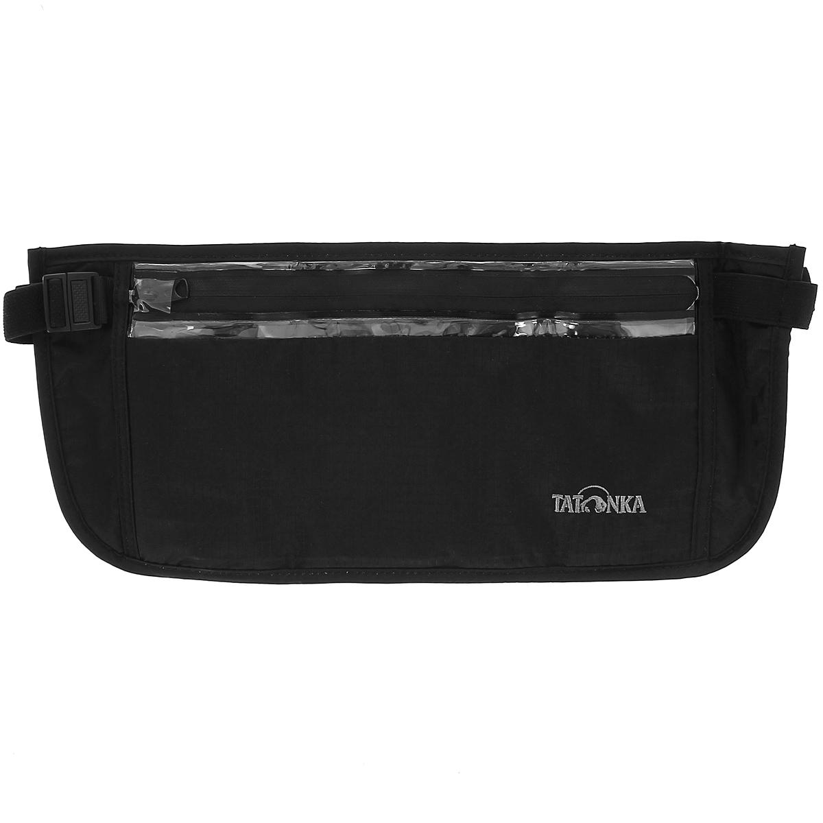 Кошелек на пояс Tatonka Skin Security Pocket, потайной, цвет: черныйMABLSEH10001Большой вместительный кошелек для скрытого ношения на поясе Tatonka Skin Security Pocket подойдет не только для хранения денег, но и для сохранности документов и других ценных предметов. Он крепится на пояс при помощи эластичного ремня, длина которого регулируется. Изделие имеет одно вместительное отделение на водонепроницаемой застежке-молнии. Кошелек с обратной стороны выполнен из приятного для кожи мягкого материала, не вызывающего аллергию, внутри обтянут водонепроницаемой пленкой.Материал: 210T Nylon Rip Stop. Очень легкий материал RipStop нейлон (210 Den полиамид) с красивой и приятной на ощупь поверхностью, очень прочный. Изнутри покрыт полиуретаном с водостоойкостью 2000 мм. Нитка 210 денье (сокращено: Den) создает прочность на разрыв.
