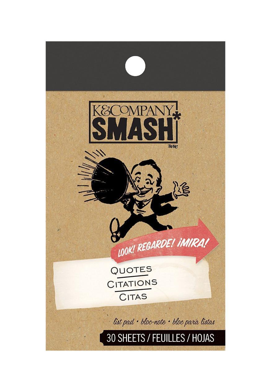 Блокнот K&Company Smash Торжественные словаKCO-30-614864Блокнот Smash для записей. Включает в себя 30 дизайнерских листов. Идеально подходит для оформления Папки Smash. Размер блокнота ~7*12 см. Материал: БумагаРазмер: 70*120*6