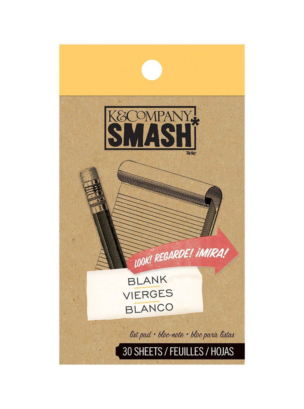 Блокнот K&Company Smash Простые листыKCO-30-629929Блокнот Smash для записей. Включает в себя 30 дизайнерских листов. Идеально подходит для оформления Папки Smash. Размер блокнота ~7*12 см. Материал: БумагаРазмер: 70*120*6