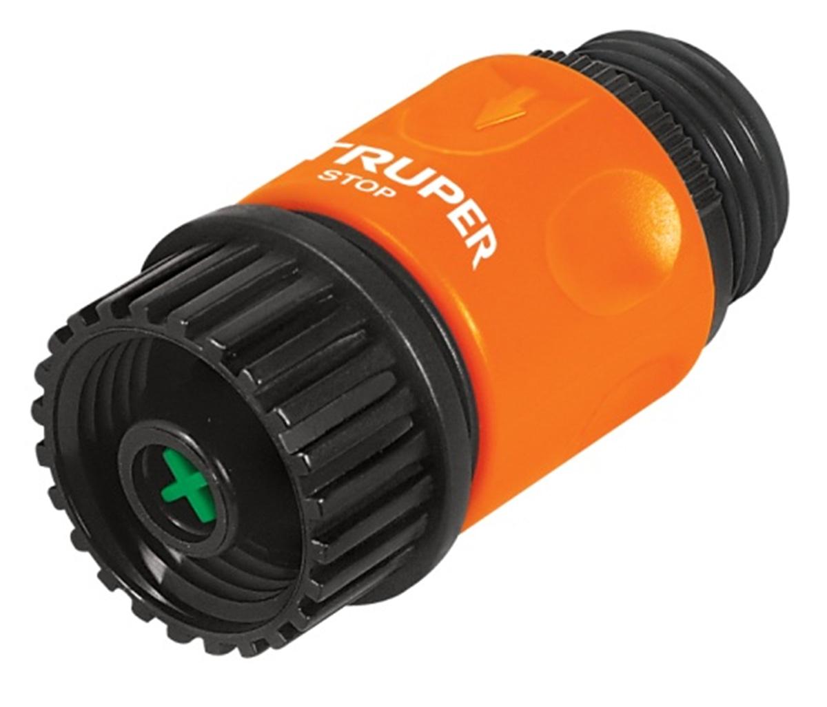 Коннектор для шланга Truper, быстрозащелкивающийся, аквастоп, 3/4RC-100BPCШланговый коннектор Truper, выполненный из пластика, предназначен для быстрого и многократного присоединения и отсоединения шланга к насадкам или крану. Оснащен удобной муфтой для лучшего соединений. Аквастоп для безопасного разъединения насадок и шланга.