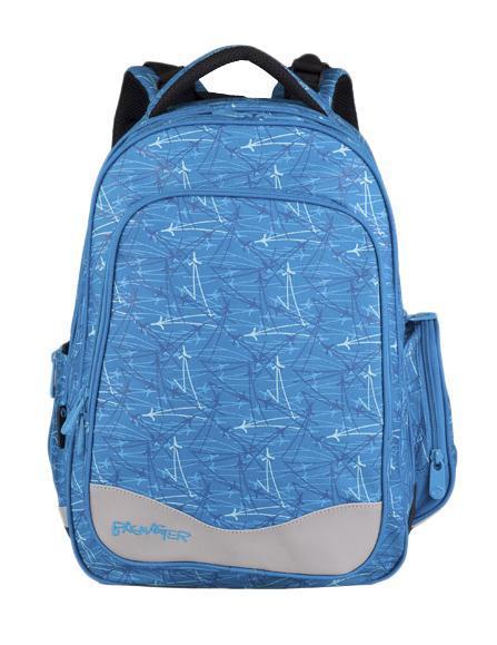 Рюкзак детский BagMaster BM-EV 004 A119689Школьный рюкзак из полиэстера с двумя внутренними отделениями и большим карманом на молнии на передней части. Во внутреннее отделение помещаются альбомы, тетради, контурные карты и так далее формата А4. Задняя часть армирована легкой алюминиевой рамкой. Д