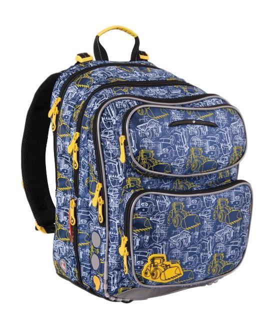 """Школьный рюкзак """"Чили"""" выполнен из полиэстера синего цвета с серыми вставками и оформлен изображением различной техники. Состоит рюкзак из двух основных отделений, закрывающихся на застежку-молнию, меньшее отделение имеет сетчатый карман на застежке-молнии и поля для заполнения информации о владельце. На внешней стороне расположено три кармана на застежке-молнии, больший из них имеет четыре обычных кармана и один с клапаном на липучке. Меньший карман снабжен пластиковым карабином для ключей. По бокам рюкзака расположены два узких кармана на застежке-молнии, внутри которых спрятан сетчатый карман и карабин, с помощью которого крепиться к рюкзаку мешочек с чехлом. Благодаря спинке с мягкой прокладкой и двум мягким плечевым ремням со светоотражающими элементами, длина которых регулируется, у ребенка не возникнет проблемы с позвоночником. Рюкзак снабжен текстильной ручкой с пластиковой вставкой для более удобной переноски."""