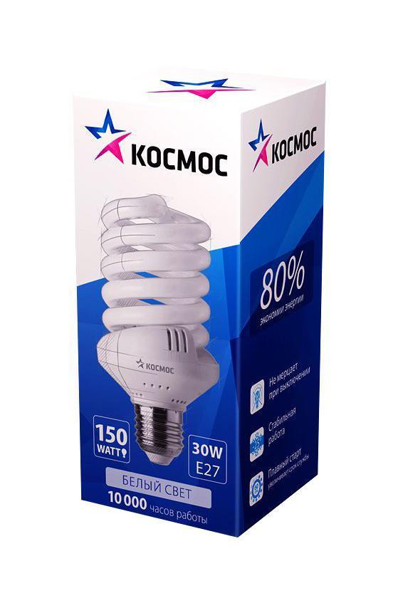Лампа энергосберегающая Космос, свет: холодный. Модель Т3 SPC 30W E2742C0042416Энергосберегающая лампа Космос холодного света способствует зрительному и психоэмоциональному комфорту, ее лучше использовать в гостиных, местах приема гостей, кухнях. Такая лампочка при аналогичных размерах позволяет заменить большинство галогенных ламп и ламп направленного света, при более низком энергопотреблении по сравнению с галогенными и обычными лампами накаливания. Не содержит паров ртути, так как используется технология амальгамной дозировки. Ртуть находится в связанном состоянии. Лампа обладает высоким индексом цветопередачи, это означает, что все цвета объектов, освещаемые такой лампой, выглядят естественно и натурально. Применение PTC-термистра с положительным коэффициентом температуры позволяет осуществлять плавный старт лампы, что увеличивает срок службы лампы, позволяя производить до 500 000 включений-выключений. Характеристики:Модель:Т3 SPC 30W E2742. Материал:стекло, металл, пластик. Диаметр колбы (по верхнему краю): 5,5 см. Общая длина:12,5 см. Тип цоколя:E27. Мощность:30 Вт. Соответствующая мощность лампы накаливания:150 Вт. Свет:холодный. Цветовая температура:4200К. Световой поток:1900 Lm. Средний срок службы:8000 часов. Напряжение:220-240 В. Размер упаковки: 14,5 см х 6,5 см х 6,5 см. Производитель: Россия. Изготовитель: Китай.Российская марка Космос была создана в 2000 году, чтобы обеспечить вас качественными и доступными электротоварами. Продукция под маркой Космос производится на лучших заводах шести стран мира: России, Украины, Белоруссии, Китая, Кореи и Японии. Перед тем как попасть на магазинные полки, лампы проходят многоуровневый контроль качества, осуществляемый независимой международной лабораторией. Лампы Космос соответствуют международным стандартам качества ISO 9001 и, наряду с российским сертификатом соответствия РосТест, имеют европейский сертификат RoHS, СЕ.Срок службы ламп Космос 10 000 часов, что в 10 раз больше обычной лампы накаливания!