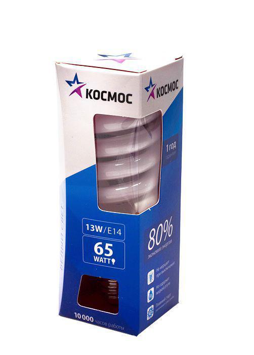 Лампа энергосберегающая Космос, свет: холодный. Модель Т2 SPC 13W E1442LKsmT2SPC13wE1442Энергосберегающая лампа Космос холодного света способствует зрительному и психоэмоциональному комфорту, ее лучше использовать в гостиных, местах приема гостей, кухнях. Такая лампочка при аналогичных размерах позволяет заменить большинство галогенных ламп и ламп направленного света, при более низком энергопотреблении по сравнению с галогенными и обычными лампами накаливания. Не содержит паров ртути, так как используется технология амальгамной дозировки. Ртуть находится в связанном состоянии. Лампа обладает высоким индексом цветопередачи, это означает, что все цвета объектов, освещаемые такой лампой, выглядят естественно и натурально. Применение PTC-термистра с положительным коэффициентом температуры позволяет осуществлять плавный старт лампы, что увеличивает срок службы лампы, позволяя производить до 500 000 включений-выключений. Характеристики:Модель: Т2 SPC 13W E1442. Материал:стекло, металл, пластик. Диаметр колбы (по верхнему краю): 3 см. Общая длина:10 см. Тип цоколя:E14. Мощность:13 Вт. Соответствующая мощность лампы накаливания:65 Вт. Свет:холодный. Цветовая температура:4200К. Световой поток:650 Lm. Средний срок службы:8000 часов. Напряжение:220-240 В. Размер упаковки: 11,5 см х 3,5 см х 3,5 см. Производитель: Россия. Изготовитель: Китай.Российская марка Космос была создана в 2000 году, чтобы обеспечить вас качественными и доступными электротоварами. Продукция под маркой Космос производится на лучших заводах шести стран мира: России, Украины, Белоруссии, Китая, Кореи и Японии. Перед тем как попасть на магазинные полки, лампы проходят многоуровневый контроль качества, осуществляемый независимой международной лабораторией. Лампы Космос соответствуют международным стандартам качества ISO 9001 и, наряду с российским сертификатом соответствия РосТест, имеют европейский сертификат RoHS, СЕ.Срок службы ламп Космос 10 000 часов, что в 10 раз больше обычной лампы накаливания!